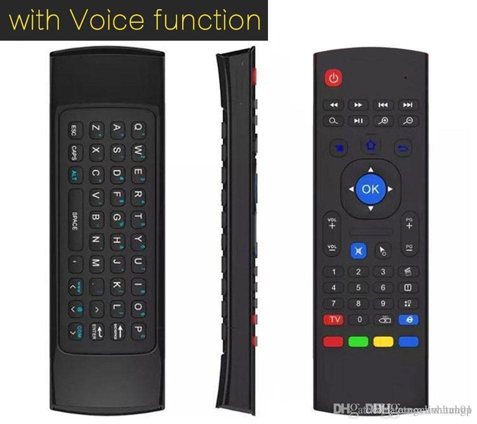 10pcs MX3 X8 T3 W / 마이크 미니 2.4GHz 무선 자이로 스코프 키보드 공기 마우스 원격 G- 센서 자이로 스코프 안 드 로이드 TV 박스 PC 동글