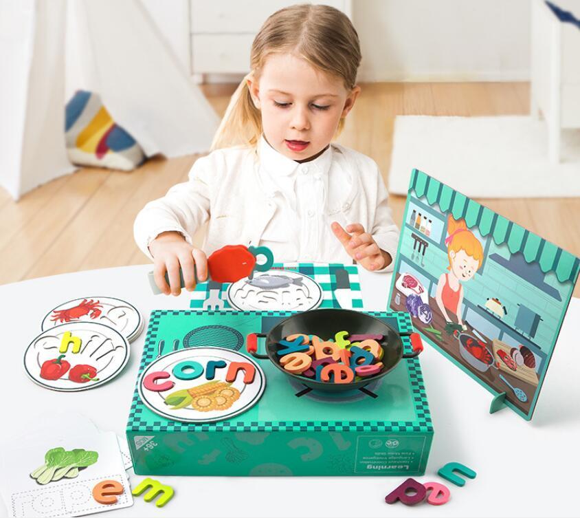 Early teaching and intellectual development of children's alphabet puzzle building blocks Learning Vegetables and animals Toys