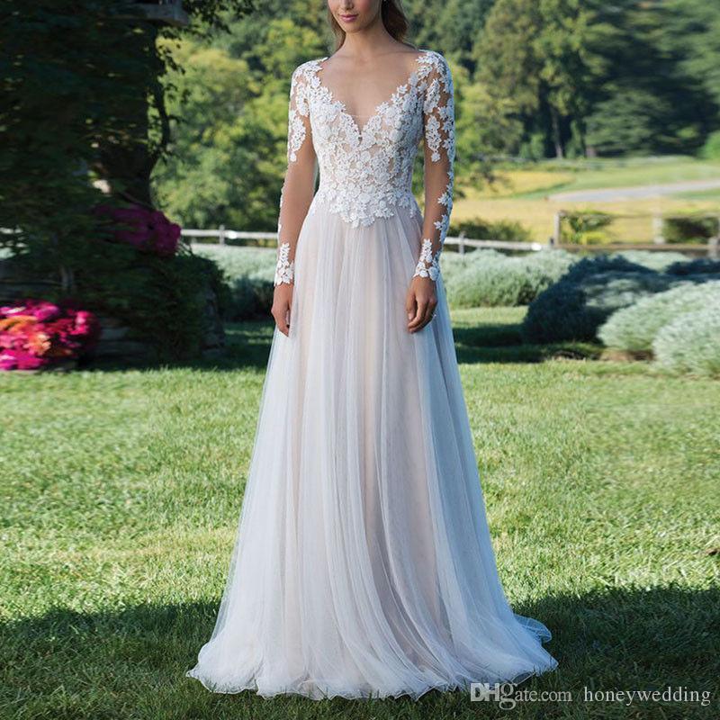 Длинные рукава кружева Boho свадебные платья без спинки аппликации свадебное платье на заказ пляж тюль свадебное платье
