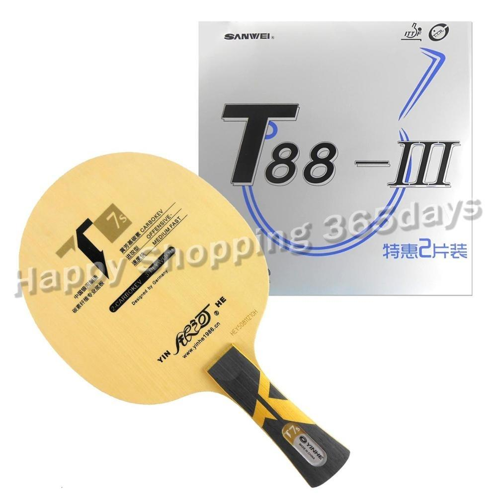 Pro Table Tennis PingPong Combo Racket Galaxy YINHE T7s Blade with 2x Sanwei T88-III Rubbers T191026