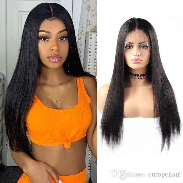 Tam Dantel İnsan Saç Peruk Düz Dantel Ön İnsan Saç Peruk Siyah Kadınlar Için 150% Yoğunluk Öncesi Kopardı Bebek Saç