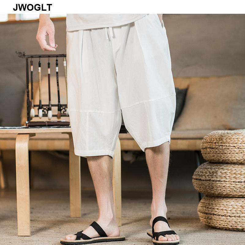 Korean Clothes Summer New Fashion 100% Cotton Mens Harem Calf Length Pants Casual Loose Black White Short Joogers Pants