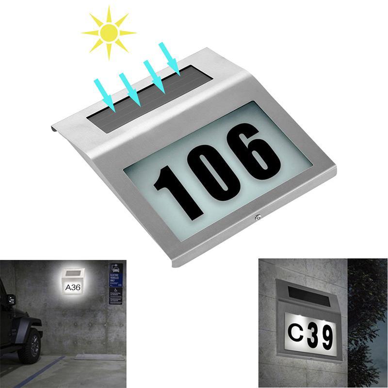 태양 전원 LED 라이트 로그인 하우스 호텔 문 주소 플라크 방수 번호 숫자 플레이트 램프 홈 조명 로그인