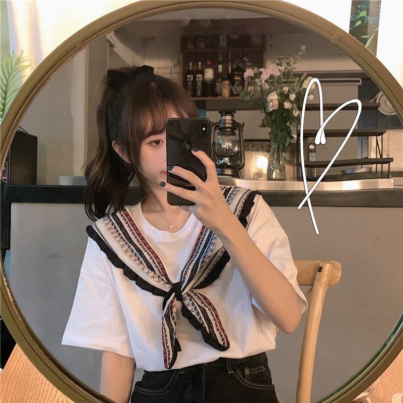 cinta Nacional de Verano gran tamaño de cinta de algodón T- suelta de algodón base camisa camiseta blanca superior delgada de manga corta de las mujeres