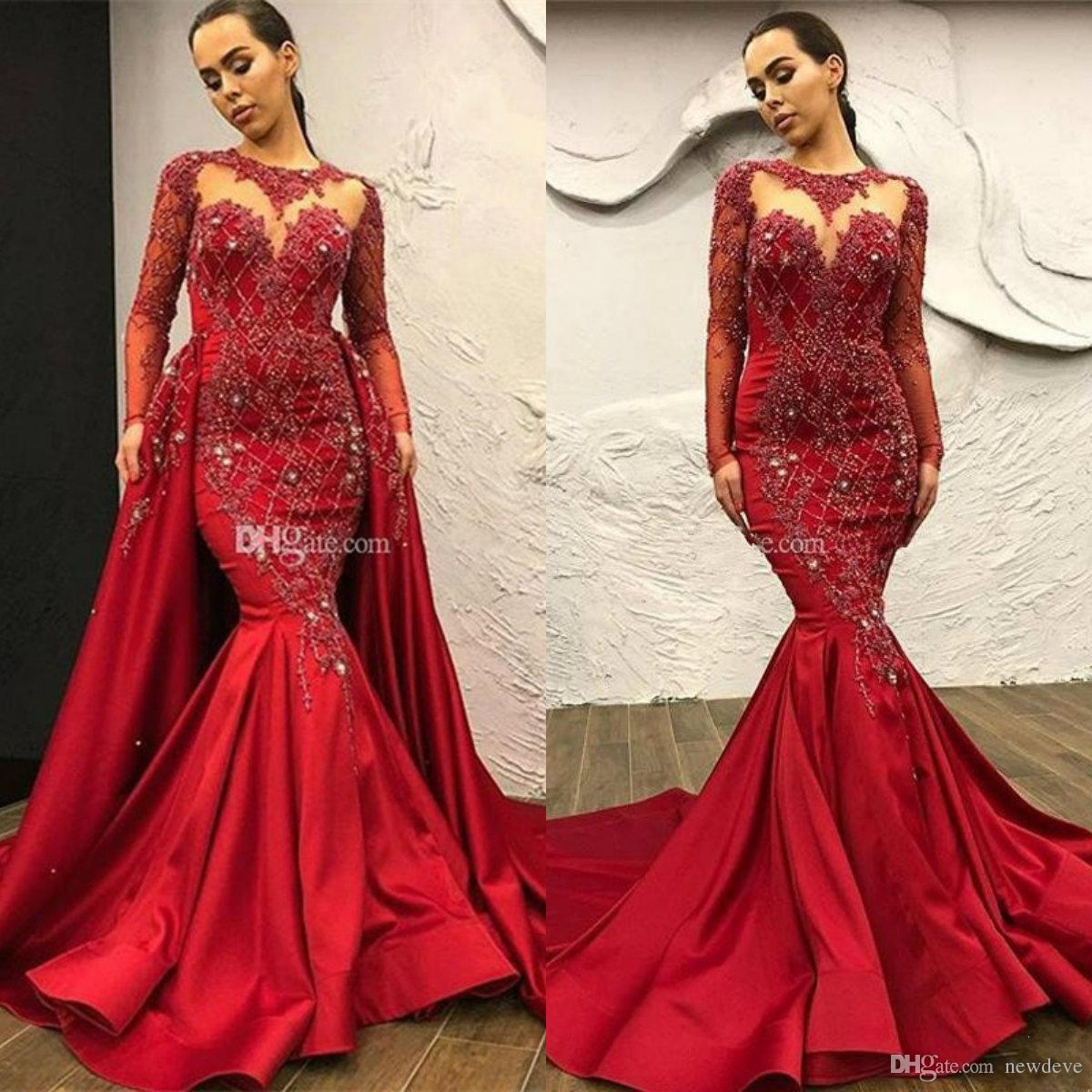 Elegant Mermaid Prom Dresses Detachable Train Beading Appliques Crystal Celebrity Evening Gowns Satin Long Sleeve Special Occasion Dress