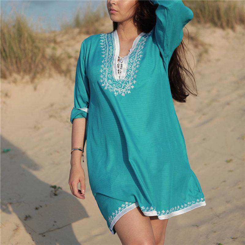2020 Bikini Cover-up bleu de Bohème brodé V-cou Robe d'été Plage Tunique en coton Femmes Beach Wear Maillot de bain Cover Up Q846