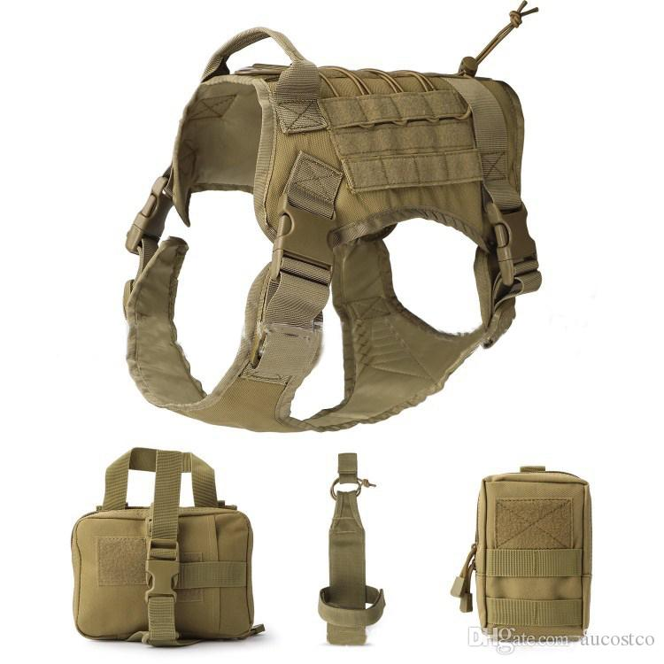 Hot Selling Dog Vest Set 1000D Nylon Waterproof Tactical Dog Clothes Harness Outdoor Police Dog Adjustable Combat Vest Suit M/L/XL M87F