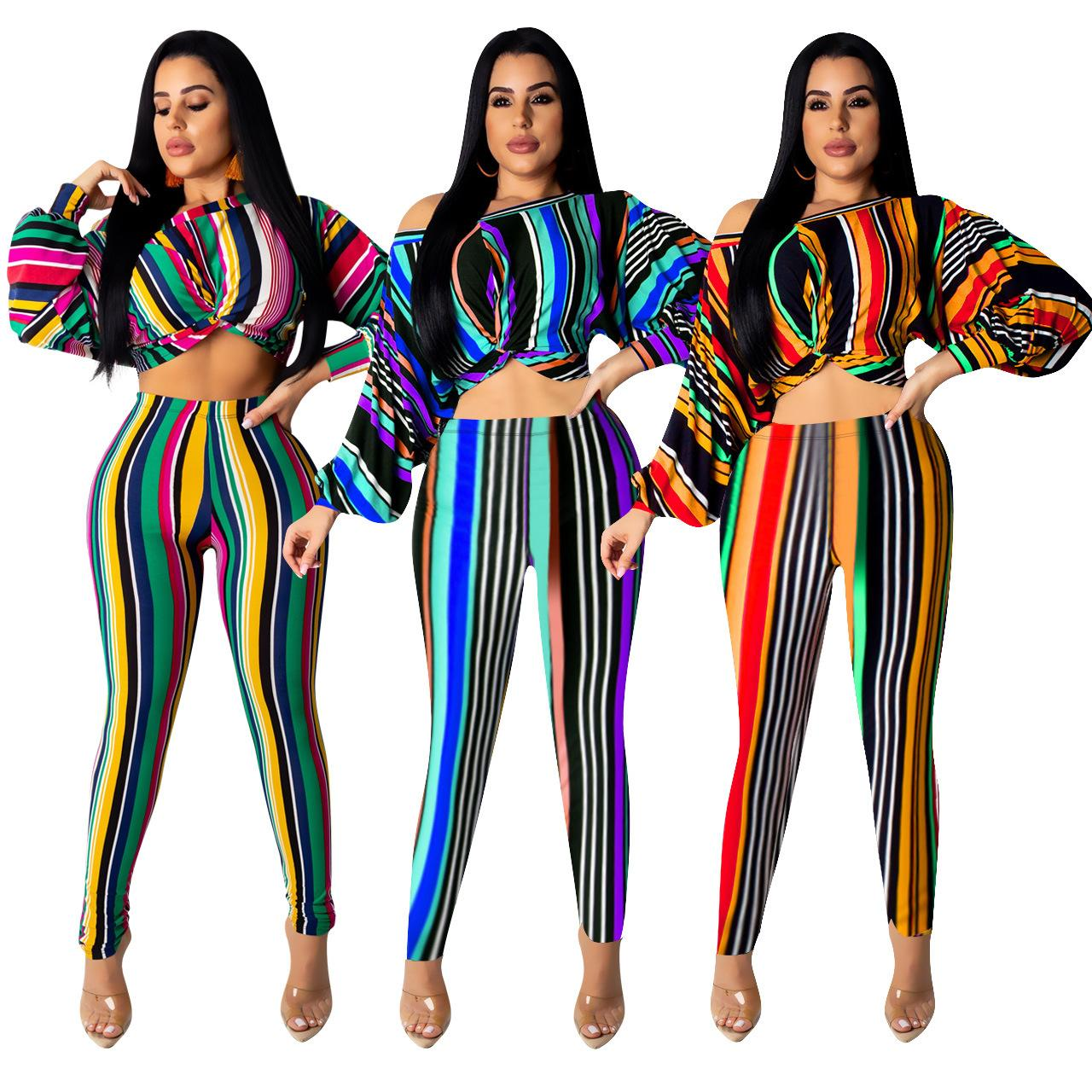 Women Two Piece Outfits Rainbow 2 Piece Pants Set Stripe Print Long Batwing Sleeve Short Crop Top Long Pencil Pants Green Blue Yellow
