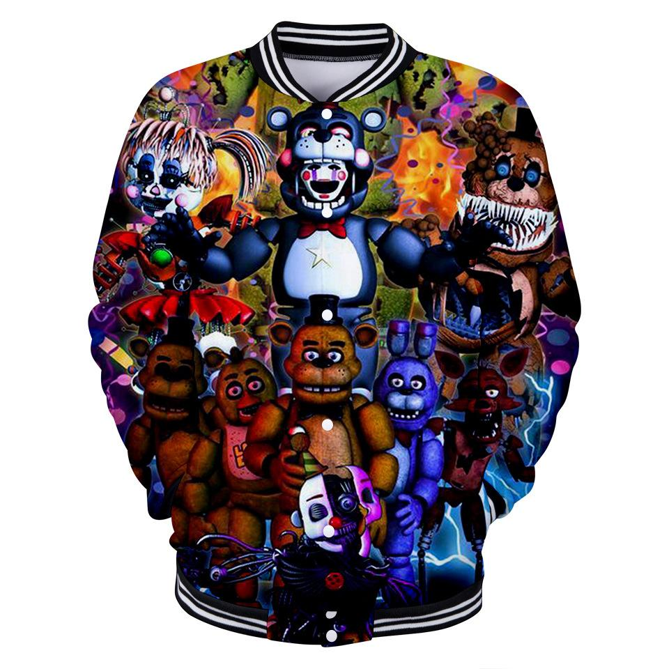 Beş Freddy Dijital Baskı At Trend Kapüşonlular Nights 3d Uzun Kollu Yuvarlak Yaka Beyzbol Elbise Hoodie