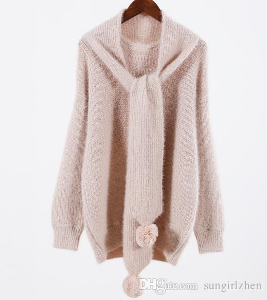 2018 autumn and winter new headdress mohair sweater female round neck sweet hair ball scarf loose student knit sweater white apricot pink on