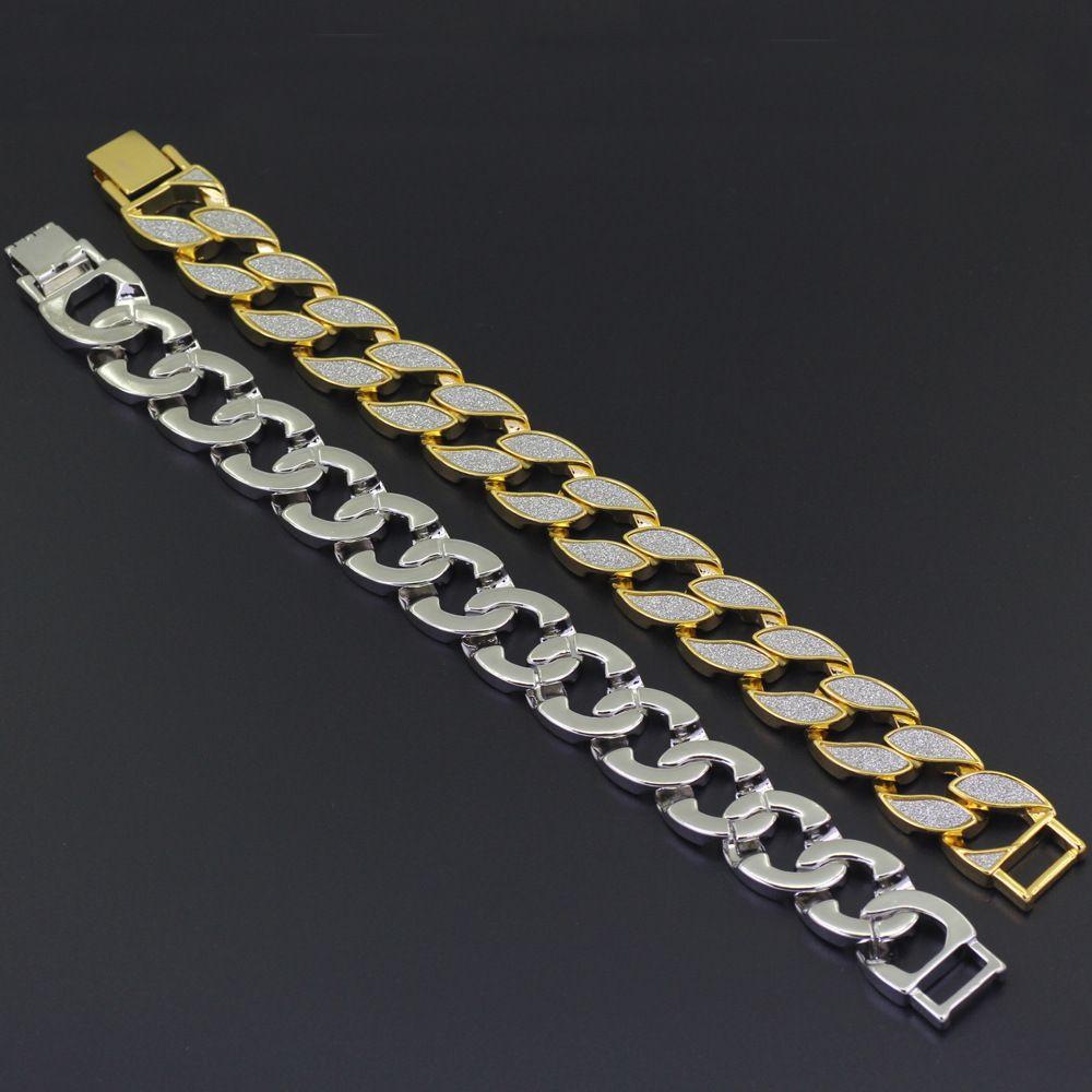 Hombres de lujo simulada diamante del oro de la moda pulseras brazaletes de alta calidad plateado heló hacia fuera la pulsera de Miami cubano de Hip Hop