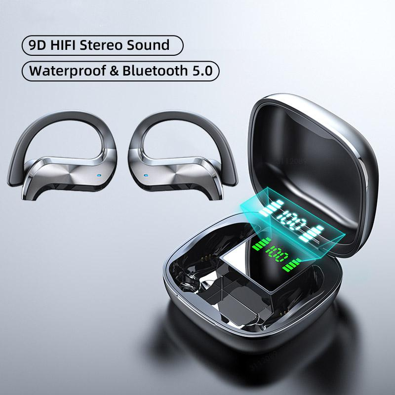 Sem fio Fone de ouvido Bluetooth Sports Waterproof Wireless Headphone Touch Control Auscultadores TWS Earbuds Fones iPhone Para microfone com