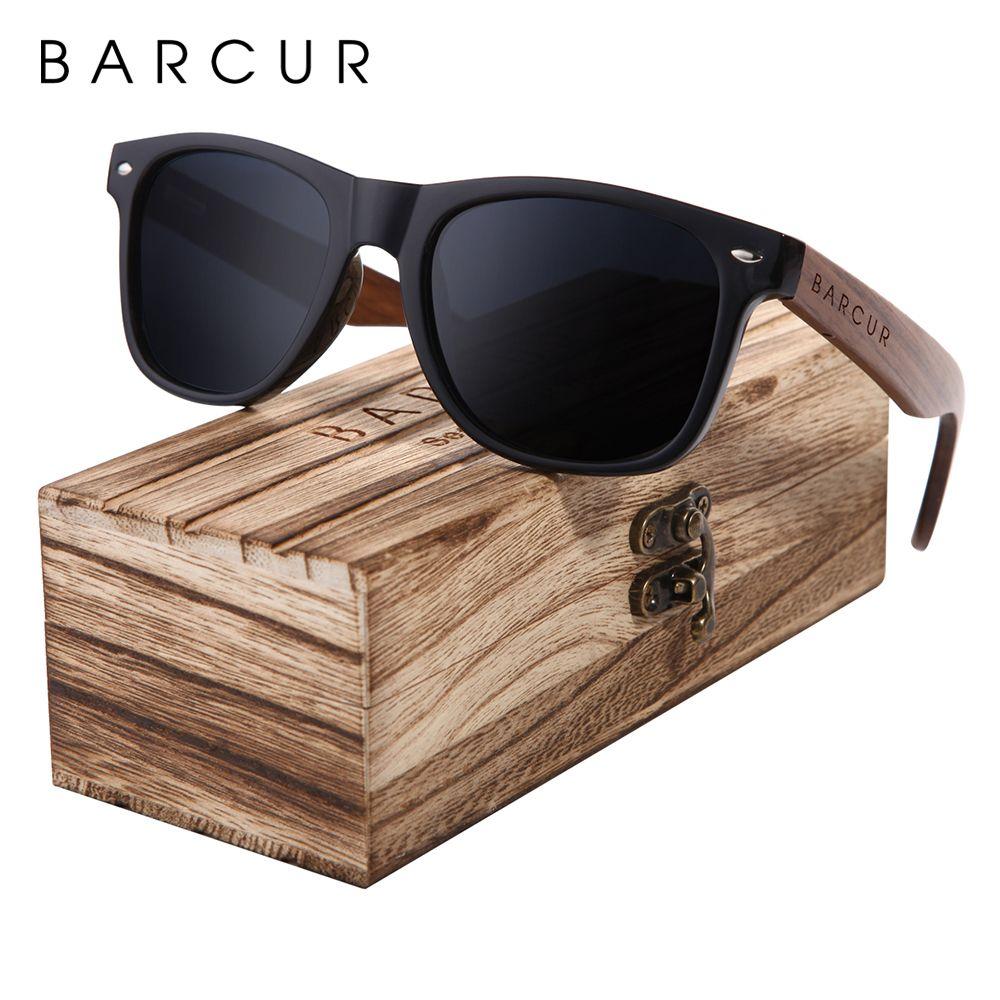 BARCUR noce nero degli occhiali da sole di legno da sole polarizzati Occhiali da Uomini protezione UV400 Occhiali in legno scatola originale