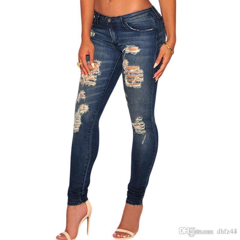 새로운 여성 패션 다크 샌드 워시 데님 스키니 청바지 레저 MODIS 청바지 연필 바지 Calca 무료 배송을 파괴