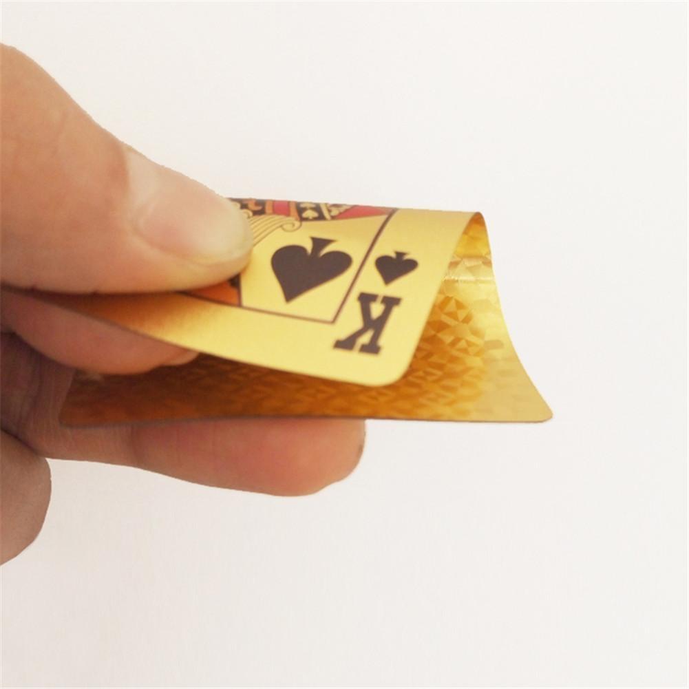 Or cartes à jouer feuille d'or carte de jeu Jeu Jeu de cartes 24K en plastique Film Poker Durable carte imperméable pour l'équipe Plein Air Jerse