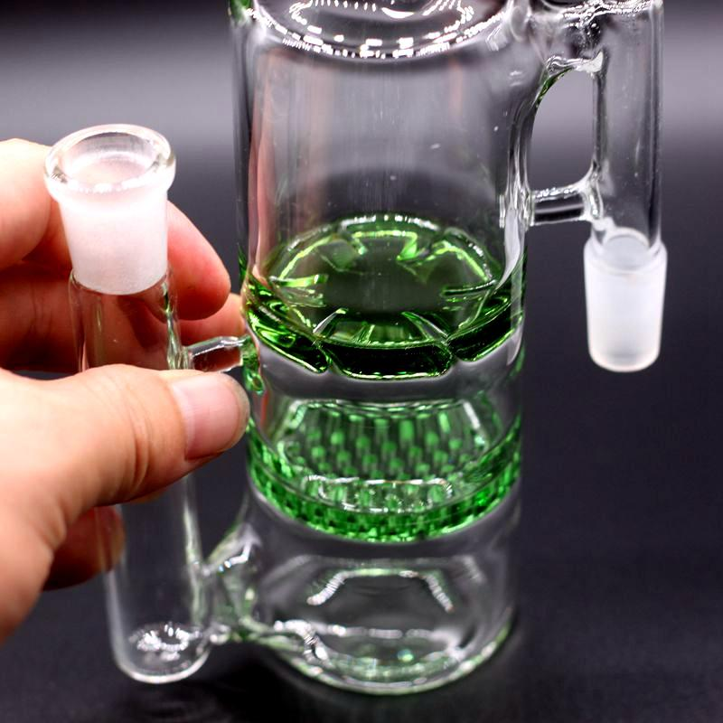 Recycler Honeycomb Ashcatcher 18mm Double Percolator Bong Ash Catchers Two Function Bubbler Pipes Hand Blown Oil Rigs Accessories