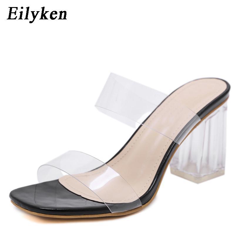 Eilyken 2020 PVC-Gelee-Sandalen öffnen Zehe-Absatz-Frauen-transparente Slippers Schuhe quadratische Ferse Klare Sandalen Größe 35-40 Schwarz CX200615