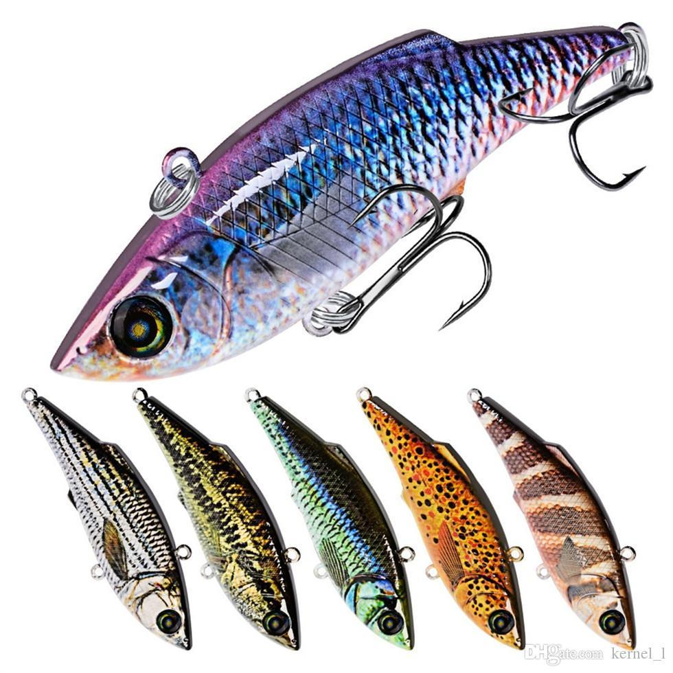 Mixed 10 Color 7.9cm 10.5g VIB Hard Baits & Lures 6# Hook Fishing Hooks Fishhooks Artificial Plastic Bait Fishing Accessories