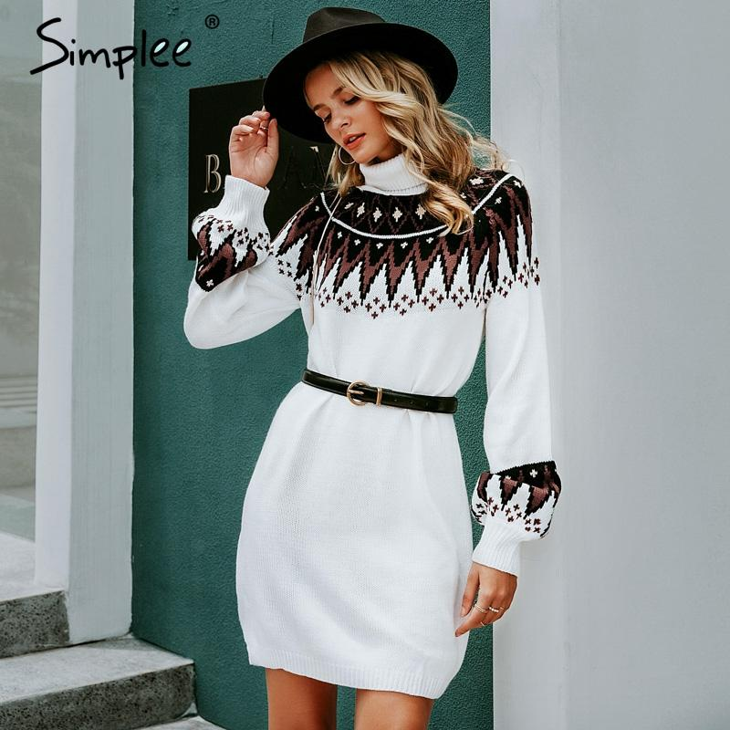 Geometric print knitted dress women Casual turtle neck pullover sweater dress female Autumn winter retro white vestidos