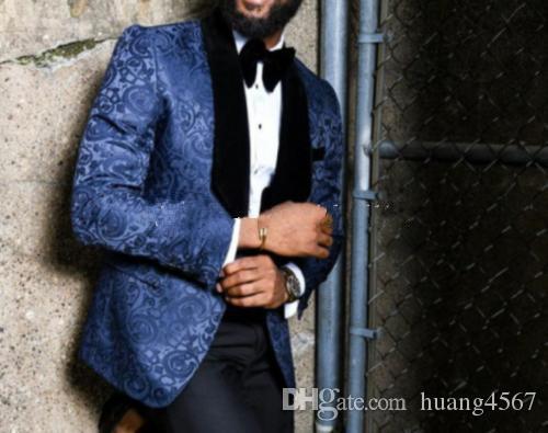 새로운 인기있는 한섬 원 버튼 블루 패턴 웨딩 신랑 턱시도 어깨 걸이 옷깃 Groomsmen 남성 복장 댄스 파티 재킷 (자켓 + 바지 + 타이) 246