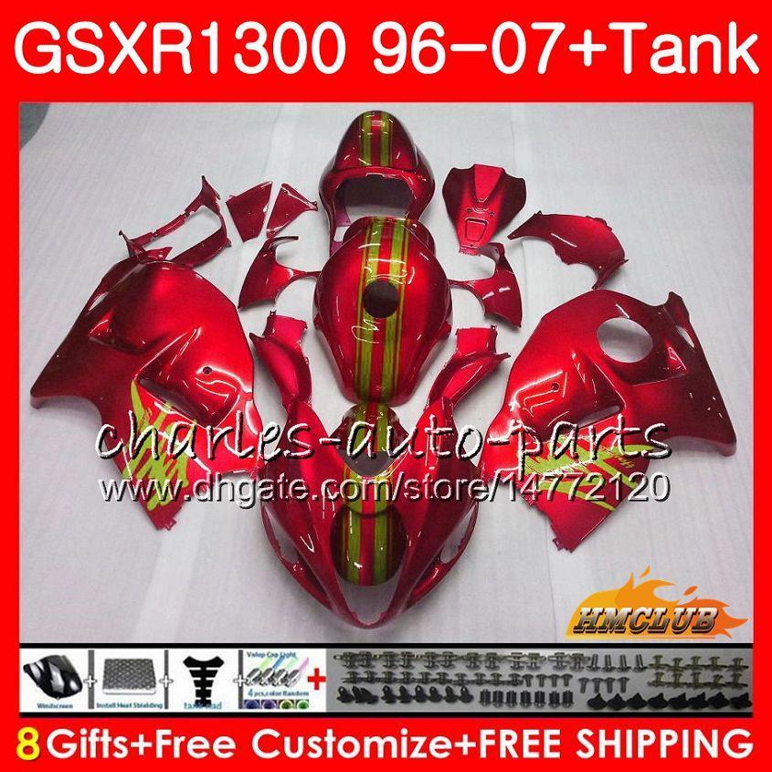 Corpo Para SUZUKI Hayabusa GSXR 1300 pérola vermelha quente GSXR1300 96 02 03 04 05 06 07 24HC.116 GSX R1300 1996 2002 2003 2004 2005 2006 2007 Carenagem