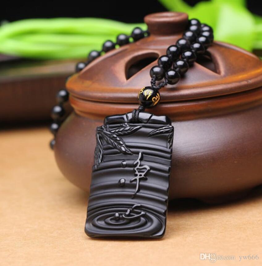 Natürliche Frosted Obsidian Reines Herz Bambus Anhänger Kristall Männer und Frauen hohe Aufstiegs-Halsketten-Anhänger