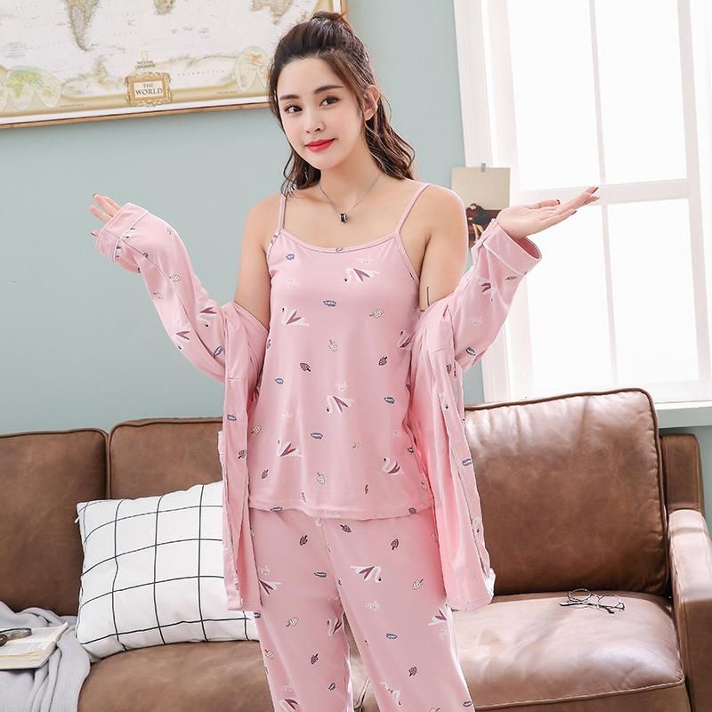 2019 New Spring pigiami delle donne insiemi sexy 3 pezzi lunghi seleeve Robe Set Mutandine da notte pigiami Homewear Sleepwear