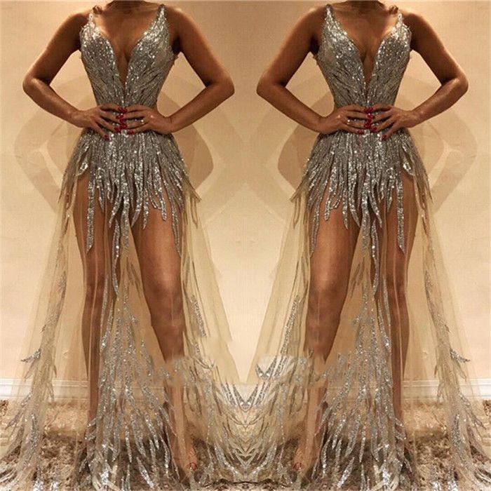 Abiti da cerimonia da sera in argento con scollo a V Sequins A Line Sweep Train Illusion Bodice Abiti da sera sexy Abito da ballo su misura