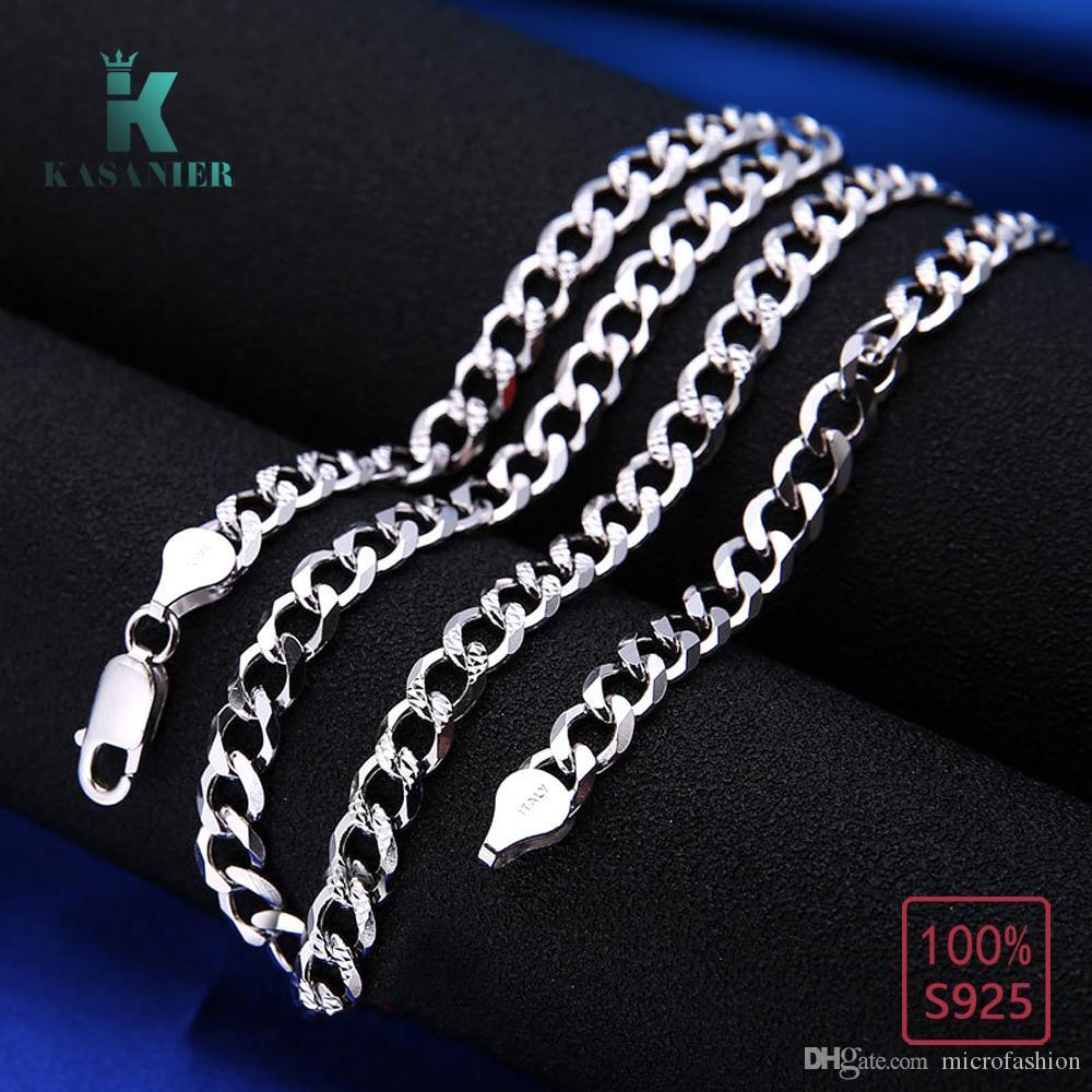 100% reale 925 Sterlingsilber 6MM Kette Halskette Männer Figaro-Ketten-Halskette Pferdepeitsche Schmuck Pullover Kette Zubehör