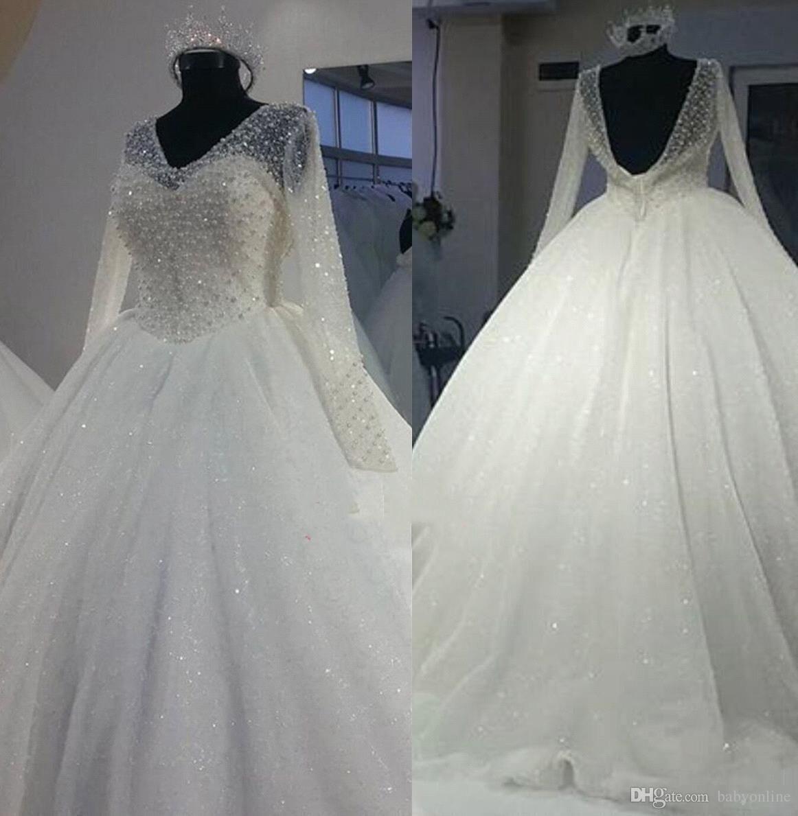 Dubai Arabic Vintage Long Sleeve Ball Gown Wedding Dresses 2019