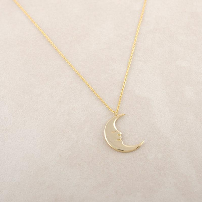 Fashion-Smiling Moon Rock Pendant Necklace Silver Gold Rose Gold Color Jewelry Accessory Free Shipping Wholesale