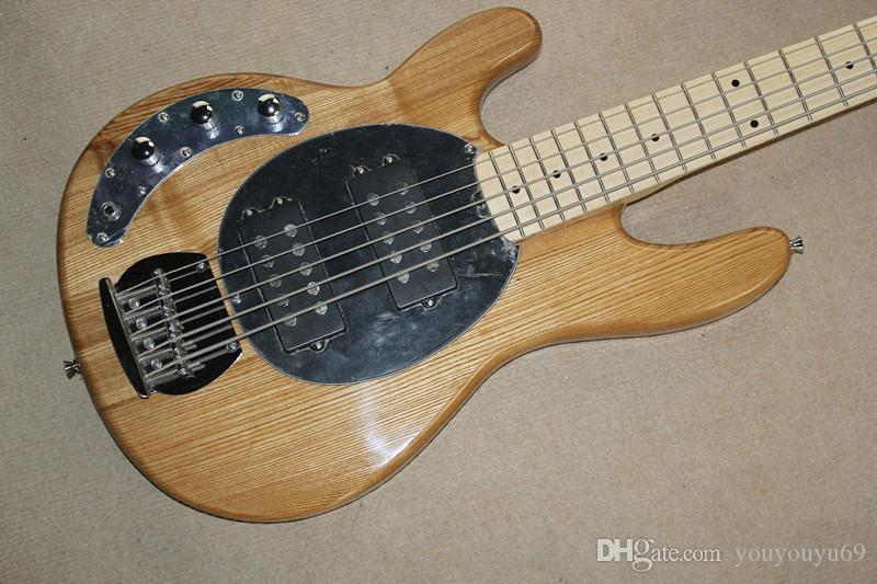 Natural wood left-hand electric bass guitar with black pique, 5-string, chrome-plated hardware, custom service