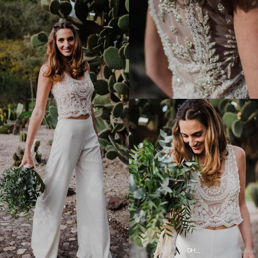 Two Pieces Bohemian Pant Suit A Line Wedding Dresses 2020 Beach Beaded Pearls See-through Country Style Wedding Gowns Custom Made BC2727