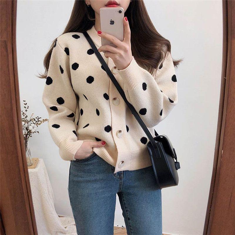 2 colori 2019 primavera a pois maglione lavorato a maglia donna manica lunga cardigan donna (C9210)