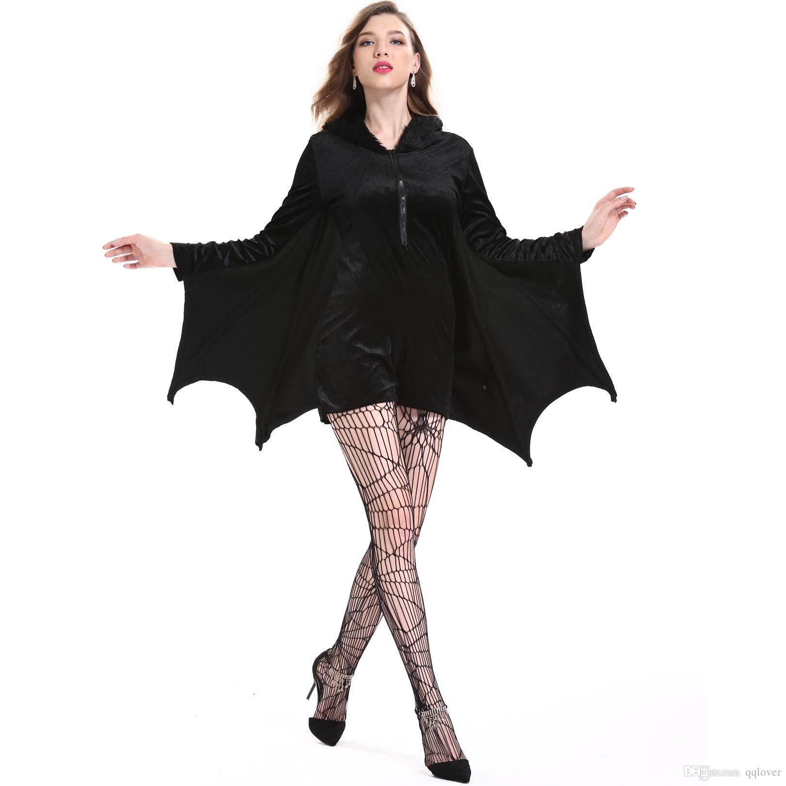 Dia das Bruxas papel feminino cosplay vampiro traje do bastão partido jogando Batman traje mulher Bat macacão Hoodie Stocking vampiro Preto