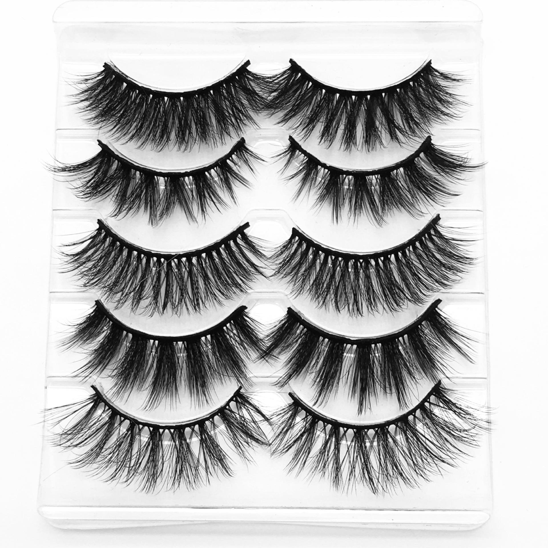 Vizon saç 5D kirpikler doğal kalın sahte göz 5 çift yalancı tam şerit kadınlar göz makyaj için 8 stilleri kirpikleri kirpikleri