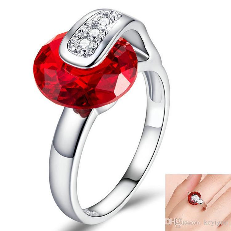 Kadınlar Cam Yüzük Düğün Nişan Moda Stil Yüzük Takı Hediye için Aşk Yüzüklerin Benzersiz Kırmızı Kalp