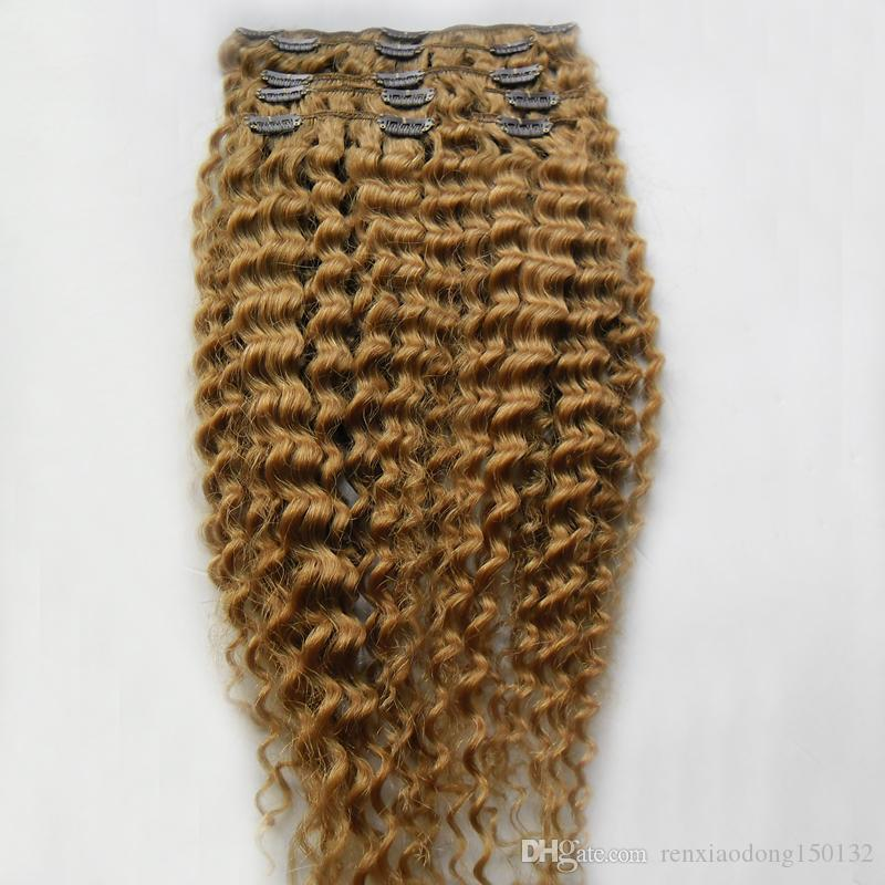 """Kinky Curly Hair Clip in Human Hair Extensions 8 Pieces/Set Remy Hair Clip-Ins Full Head 8Pcs/Set 100 Gram Free Shipping 10""""-26"""""""