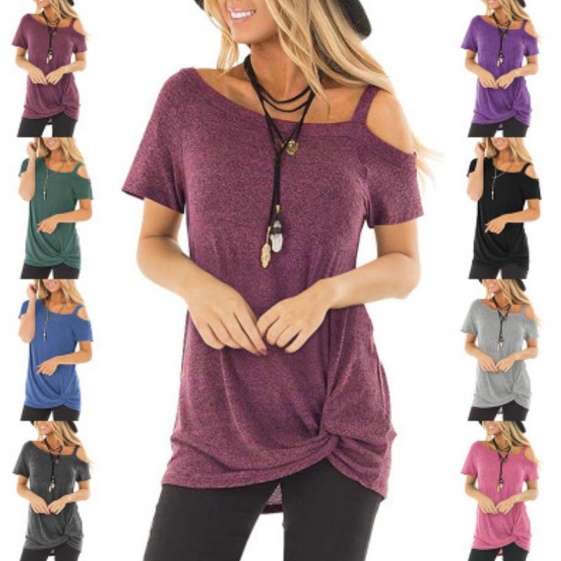 Diseñador para mujer Camisetas Moda Verano Casual Twisted T-shirt de manga corta sin tirantes Top Estilo nacional Mujer Diseñador Ropa de lujo