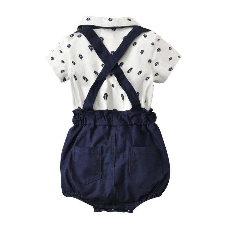 Bebé del sistema de la ropa para bebé 2019 nuevos del verano de los mamelucos Tie Shirts + monos pantalones 2 piezas de vestimenta Establece señores Traje