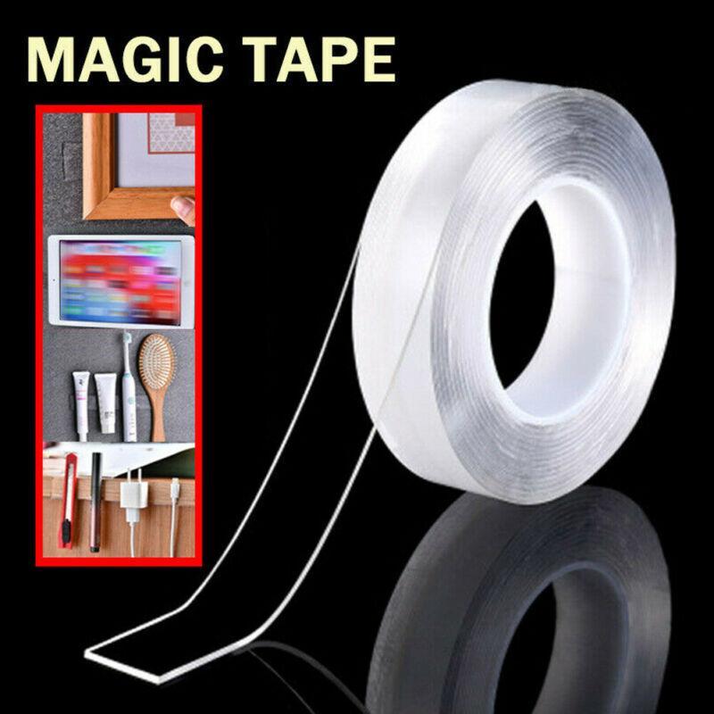 2019 mais novo Hot reutilizável Magia Nano Dupla Face Fita Adesiva Traceless Limpar removível Tape