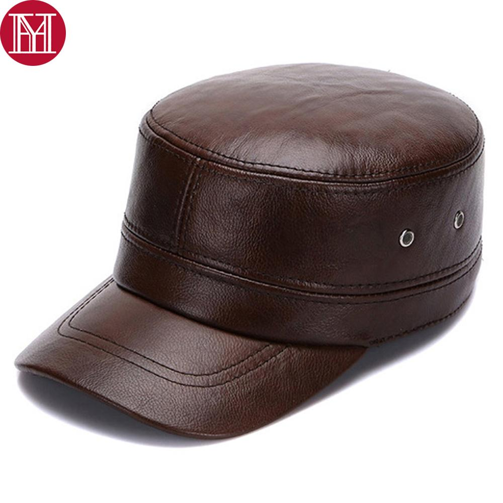 New Men Real Leather Hats Fall Winter male 100% Genuine Real Cowhide Leather Military Caps Real Cow Leather Flat Cap Earflap Cap