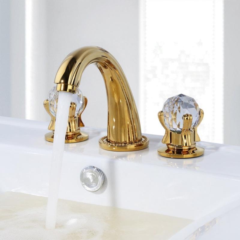 Золото отделка ванной кран с кристаллом Буграх 3 отверстия Ванна Раковина Водопад смеситель для раковины Tap-