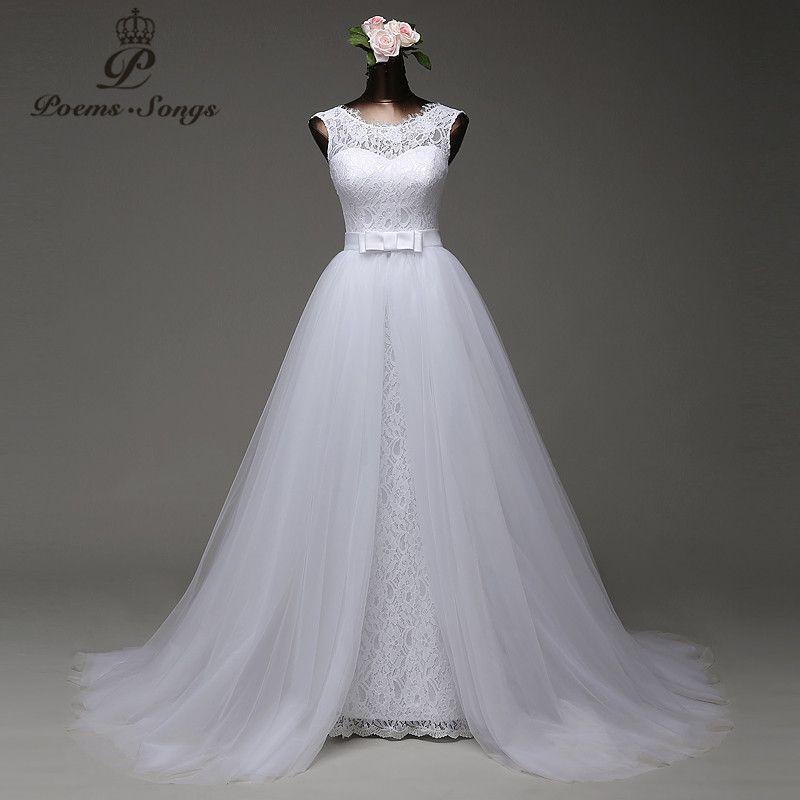 Poemssongs Custom Made High Quality Mermaid Wedding Dress With Tulle Detachable Train Vestido De Noivas Y19072901