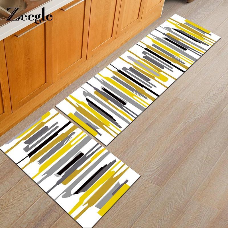 Zeegle Geometric Doormats Flannel Area Rug For Living Room Bedroom Bedside Mats Anti-slip Office Chair Floor Mats Kitchen Rugs
