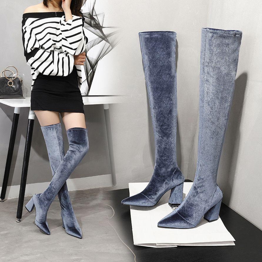 الشتاء النساء فوق الركبة رمادي مخمل سترتش الفخذ العليا مثير أحذية المرأة ساحة تو الكعوب العالية أحذية طويلة