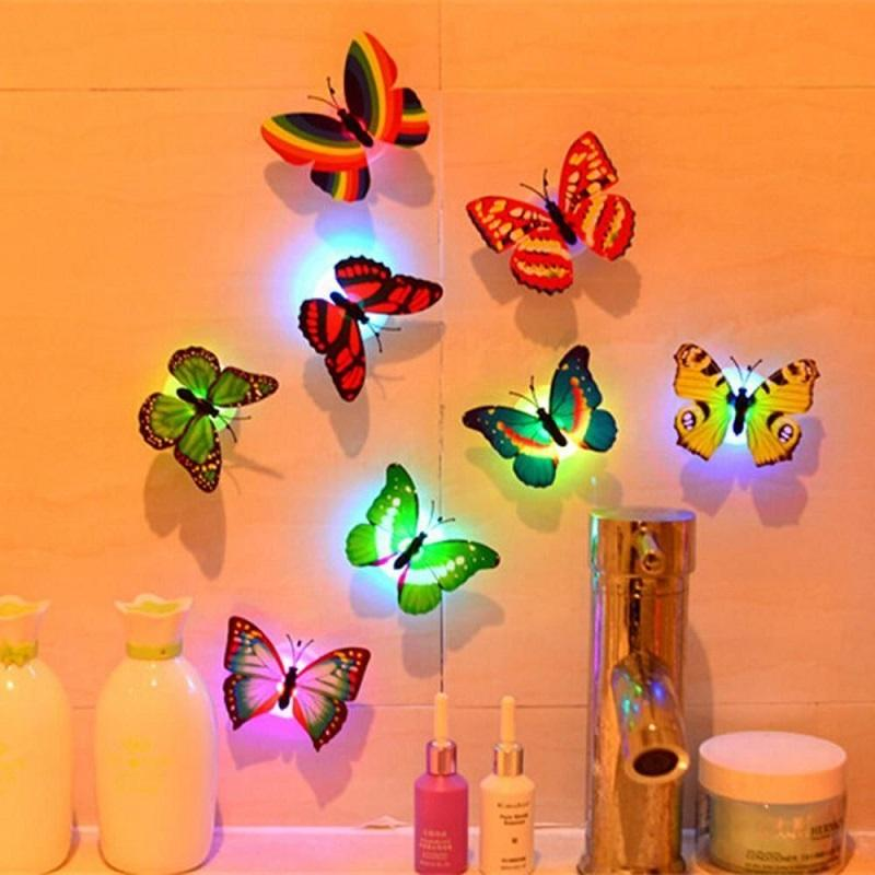 10pcs LED 3D Butterfly Wall Lights Colorful Fibre Flash Butterfly Light for Event Party Wall Sticker Small Night Lamp
