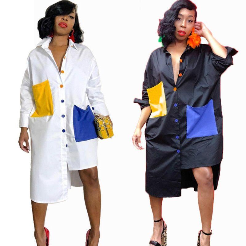 White Shirt Dress for Women Turn-Down Collar Long Sleeve Pockets Button Up Tunic Dress Loose Casual Day Dresses Oversized Midi Shirt Dress