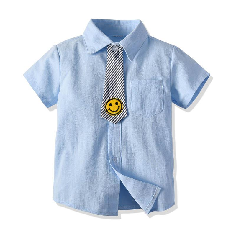 9240146d1 ... kids summer clothes boys Shirts smiling face tie Short Sleeve Kids  Shirts boys clothing kids clothing ...