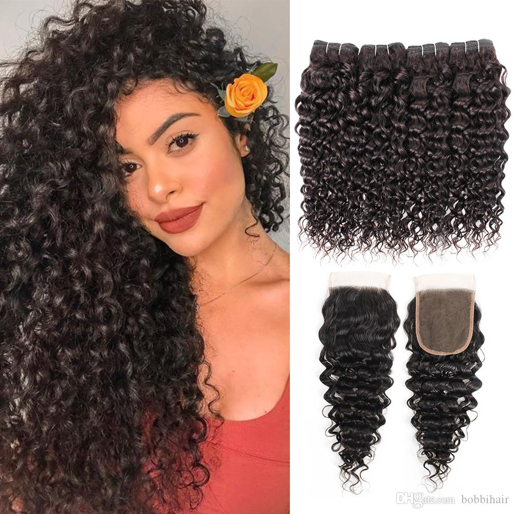 Brazilian Water Curly Hair Bundles With Closure Natural Color 4 Bundles with 4x4 Lace Closure 10-28 Inch 100% Remy Human Hair Extensions